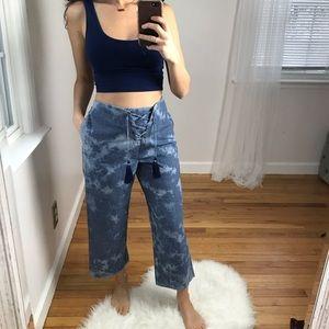 American Eagle Crop Pants Lace Up Burnout Blue